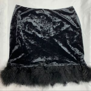 Crushed Velvet Feathered Trim Mini Skirt